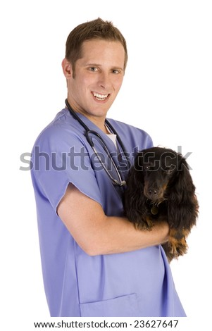 Veterinarian on white holding a black dog. - stock photo