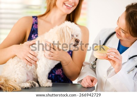 Veterinarian: Showing Dog Food To Pet And Owner - stock photo