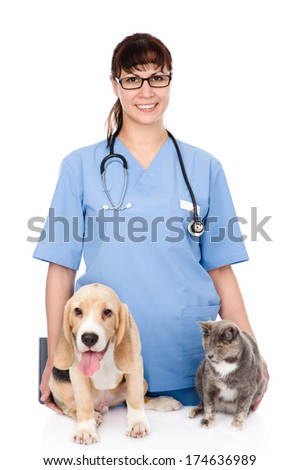 veterinarian with cat and dog. isolated on white background