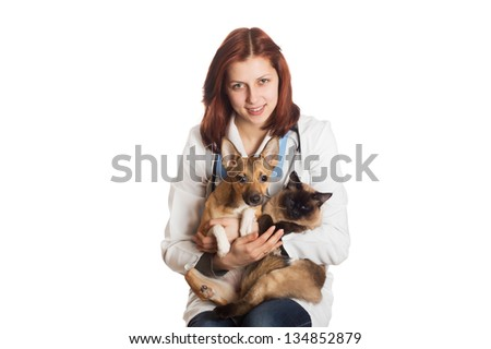 veterinarian with pets on a white background isolated - stock photo