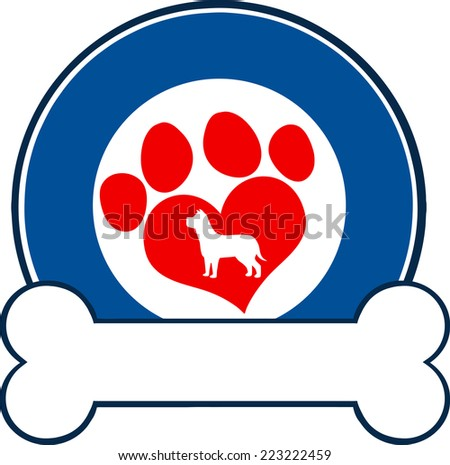 Veterinary Blue Circle Label Design With Love Paw Dog And Bone. Raster Illustration Isolated on white - stock photo