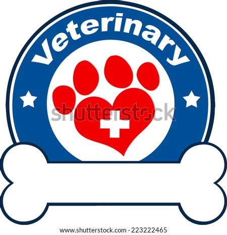 Veterinary Blue Circle Label Design With Love Paw Print,Cross And Bone Under Text. Raster Illustration Isolated on white - stock photo