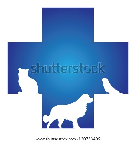 Veterinary Care, Pet Hospital or Pet First Aid Sign Present By Blue Cross With Cat, Dog and Bird Sign Inside Isolated on White Background - stock photo