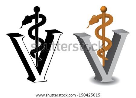 Veterinary Symbol Caduceus jpg - stock photo