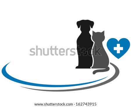 veterinary symbol with blank place and pets silhouettes - stock photo