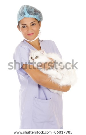 veterinary woman holding angora cat isolated on white - stock photo