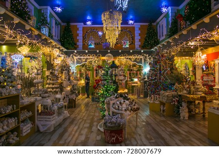 VETRALLA, ITALY - SEPTEMBER 23, 2017: Magic atmosphere at the indoor of the reign of Santa Claus Shop