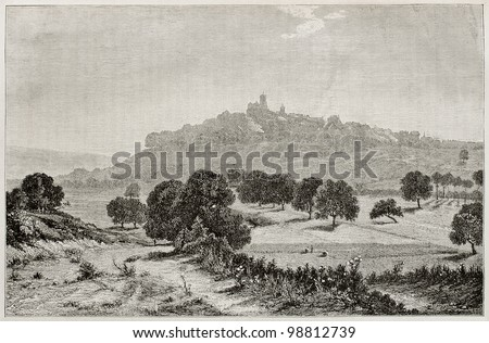 Vezelay at evening old view, France. Created by Guillon, published on Magasin Pittoresque, Paris, 1882 - stock photo