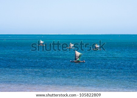 Vezo fishermens in the lagoon of Ifaty, southwestern Madagascar - stock photo