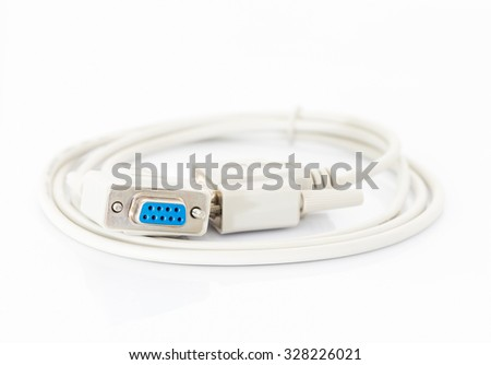 VGA cables connector with white cord on white background