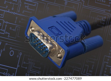 VGA connector on black background - stock photo