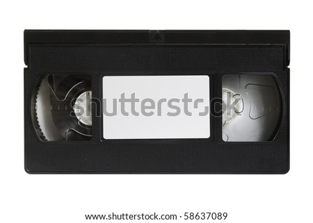 vhs cassette is on white - stock photo