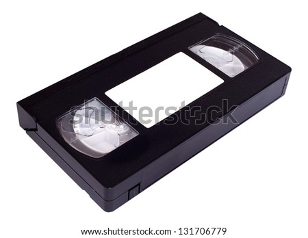 VHS cassette with wite label isolated on white - stock photo