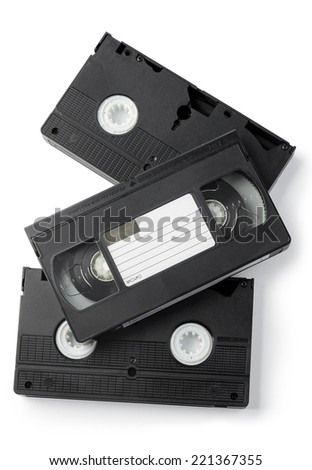 VHS Cassettes isolated on white background. Above view. - stock photo