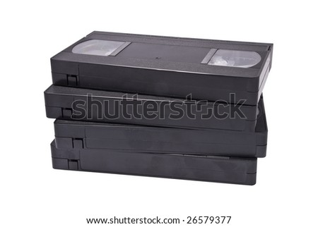 VHS cassettes on white background, clipping path - stock photo