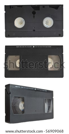 VHS tape collection set isolated on pure white background - stock photo