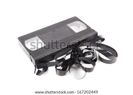 VHS tape isolated on a white background - stock photo