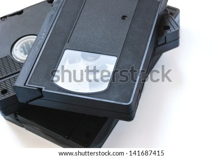 vhs tapes isolated - stock photo