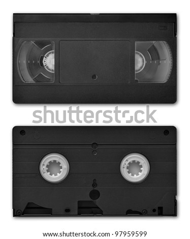 VHS video cassette both sides, isolated on white, clipping path included - stock photo