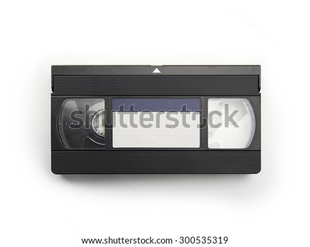 VHS Video cassette tape isolated on white. top view with blue blank label. - stock photo