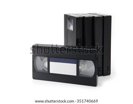 VHS Video cassette tapes, isolated on white. blank label. - stock photo