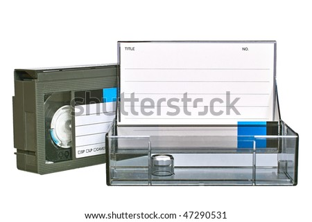 VHS video cassette with transparent plastic case. Isolated close-up image on white background - stock photo