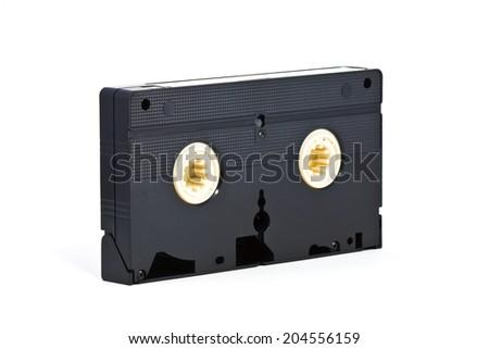 VHS video tape cassette on white background - stock photo