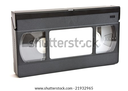 VHS video Tape Isolated on White - stock photo