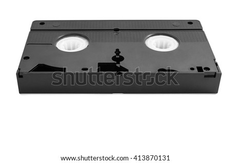 VHS video tape isolated on white background with clipping path - stock photo