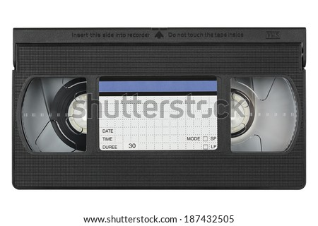 vhs videotape with blank label on white - stock photo