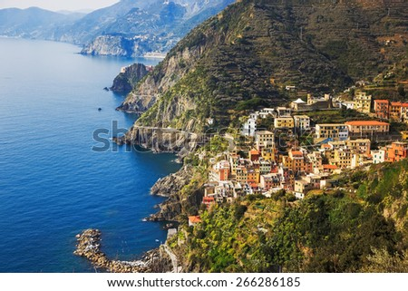 Via dell Amore aerial view, The Way of Love, linking Manarola and Riomaggiore. Cinque Terre National Park, Liguria Italy Europe. - stock photo