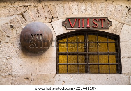 Via Dolorosa, Stations of the Cross. The pilgrims who visit the Holy Land, pass the path that Jesus carried the cross to Calvary, Jerusalem - stock photo