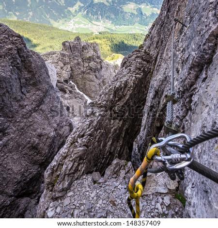 Via ferrata, Elferspitze, Stubai Alps - stock photo