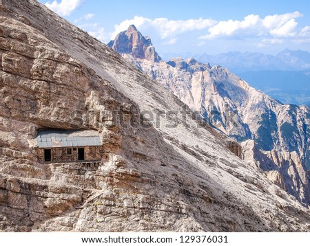 via ferrata Ivano Dibona - bivacco - climbing in Dolomites - stock photo