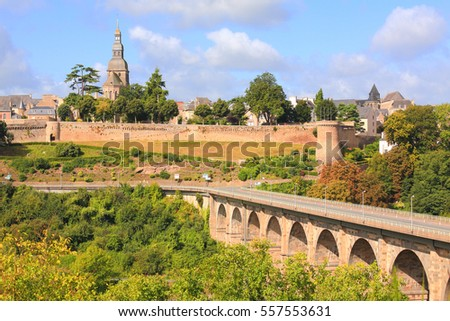 Viaduct and Castle walls, Dinan, Brittany, France