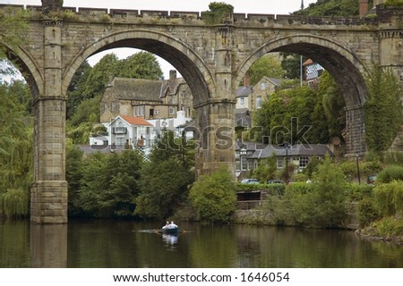 Viaduct and rowers