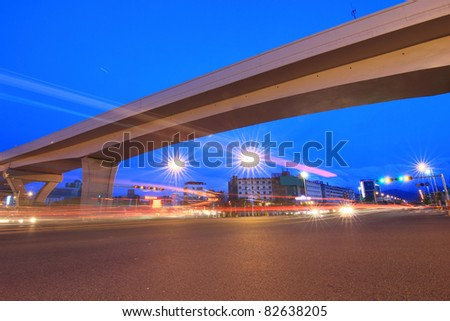 Viaduct and the road at night