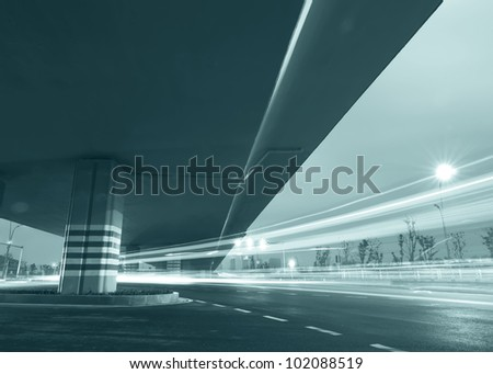 Viaduct below the light trails