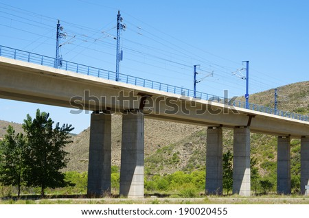 viaduct in Castejon de las Armas, Saragossa, Aragon, Spain, AVE Madrid Barcelona. - stock photo