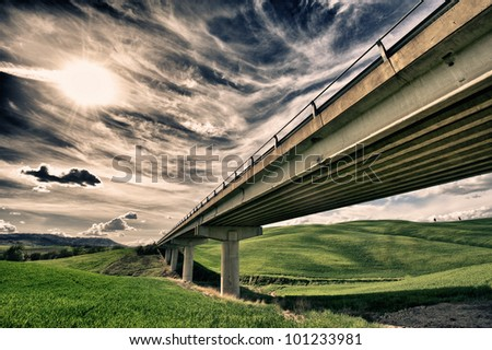 viaduct in tuscany hdr - stock photo