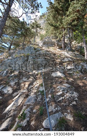 viaferrata climbing via ferrata - stock photo