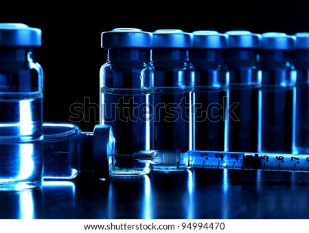 Vials of medications. MANY OTHER PHOTOS OF VIALS, SYRINGES IN MY PORTFOLIO. - stock photo