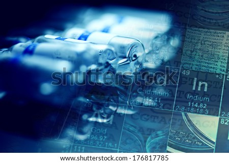 Vials. Selective focus with small dept of field.  - stock photo