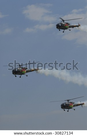 VIANA CASTELO, PORTUGAL - JUNE 10 : Military helicopter of Portuguese air forces participate in the Day of Portugal celebration on June 10, 2008 in Viana Castelo, Portugal.