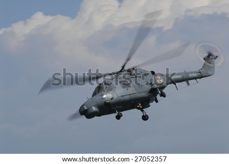 VIANA CASTELO, PORTUGAL - JUNE 10 : Military helicopter of Portuguese air forces participates in the Day of Portugal celebration on June 10, 2008 in Viana Castelo, Portugal.