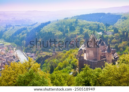 Vianden castle and valley in Luxembourg  - stock photo