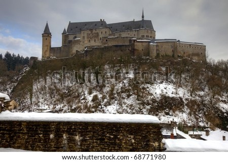 Vianden Castle in Luxembourg after snow - stock photo