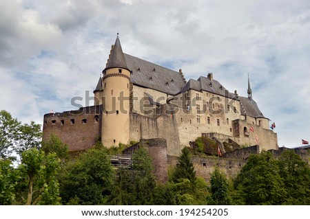 Vianden Castle is one of the largest fortified castles west of the Rhine in Vianden, Luxembourg - stock photo