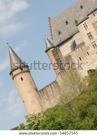 Vianden Castle observation deck - stock photo