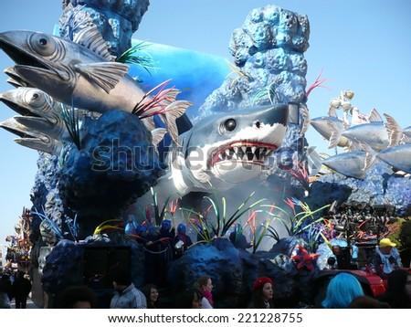 Viareggio, Italy - CIRCA FEBRUARY 2011 - Big floats from The Carnival of Viareggio, the biggest carnival celebrations in Europe, shown on february 2011 in Viareggio - stock photo